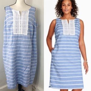 NWT Talbots Blue White Striped Shift Dress 14W